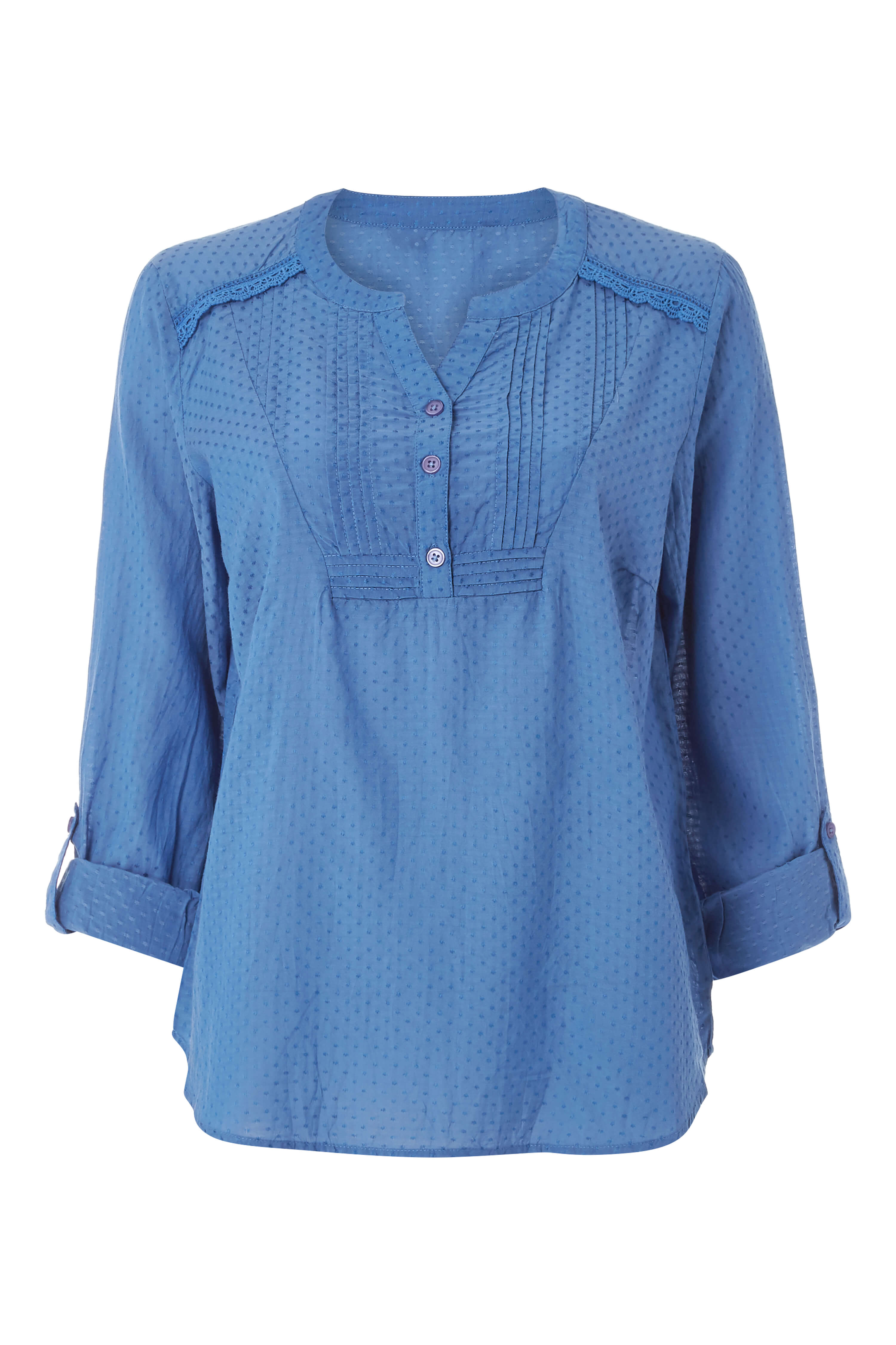 Roman-Originals-Women-039-s-Roll-Sleeve-Cotton-Mix-V-Neck-Top-Blouse-Blue thumbnail 15