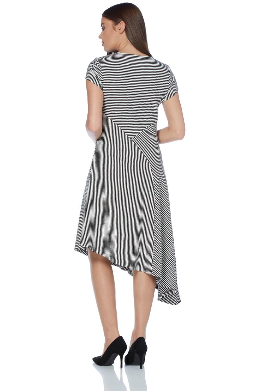Roman-Originals-Women-039-s-Black-Stripe-Print-Asymmetric-Hem-Dress thumbnail 7