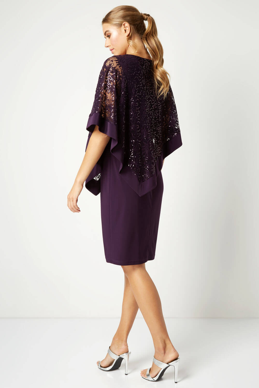 Roman-Originals-Women-039-s-Sequin-Lace-Boat-Neck-Overlay-Knee-Length-Dress thumbnail 21