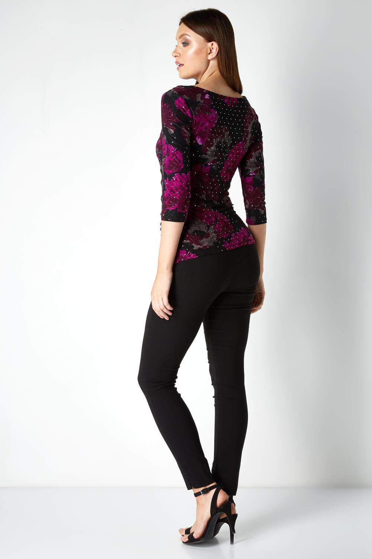 Roman-Originals-Womens-Sequin-Cowl-Neck-3-4-Length-Sleeves-Floral-Top thumbnail 8