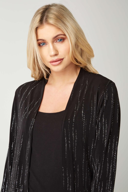 Roman-Originals-Women-039-s-Black-Glitter-Detail-Jacket-Sizes-10-20 thumbnail 8
