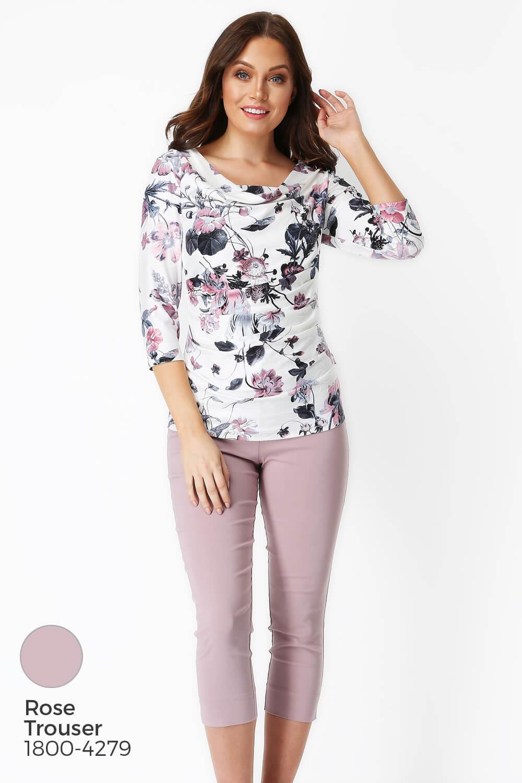 Roman-Originals-Womens-Floral-Cowl-Neck-3-4-Length-Sleeves-Floral-Top thumbnail 15