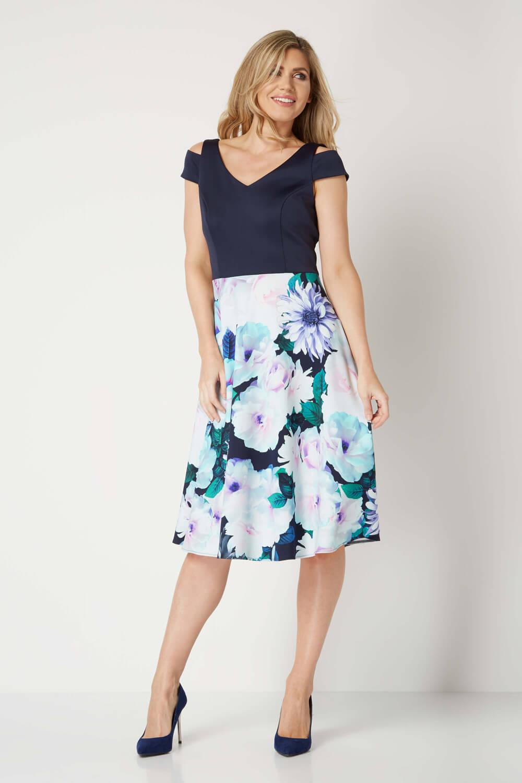 Roman-Originals-Women-039-s-Floral-Print-Fit-and-Flare-Scuba-Dress-Sizes-10-20 thumbnail 7