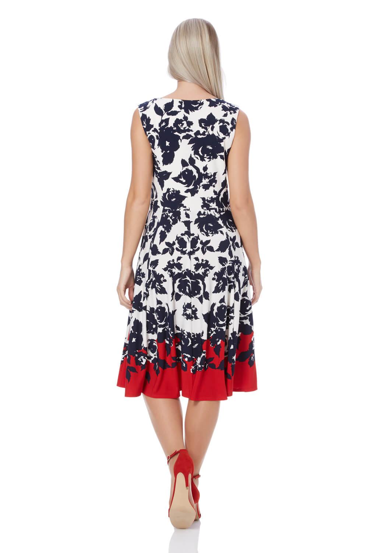 Roman-Originals-Women-039-s-Red-Floral-Border-Print-Skater-Dress-Sizes-10-20