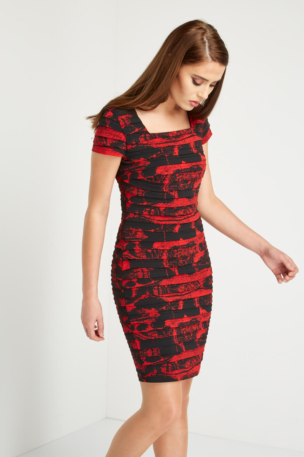 Roman-Originals-Ladies-Floral-Print-Pleated-Dress-Red thumbnail 7