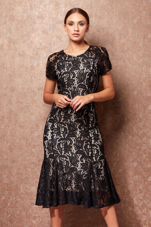 Roman-Originals-Women-039-s-Lace-Flute-Hem-Midi-Dress thumbnail 14