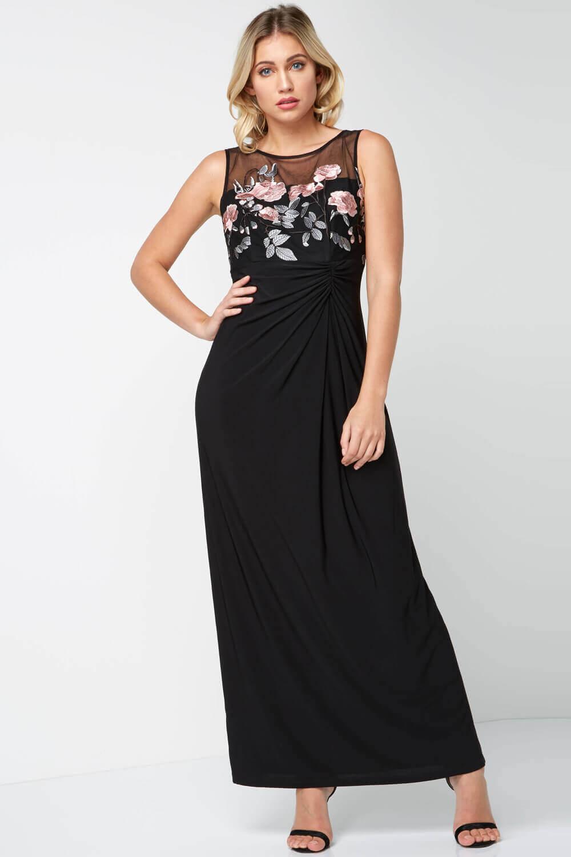 Roman-Originals-Women-039-s-Black-Rose-Embroidered-Maxi-Dress-Sizes-10-20 thumbnail 7