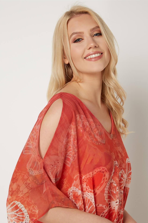 Roman-Originals-Women-039-s-Orange-Butterfly-Tie-Front-Top-Sizes-10-20