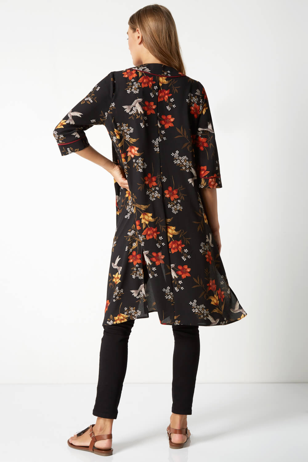 Roman-Originals-Women-039-s-Floral-Longline-Jacket-Kimono-in-Multi-Sizes-10-20 thumbnail 8