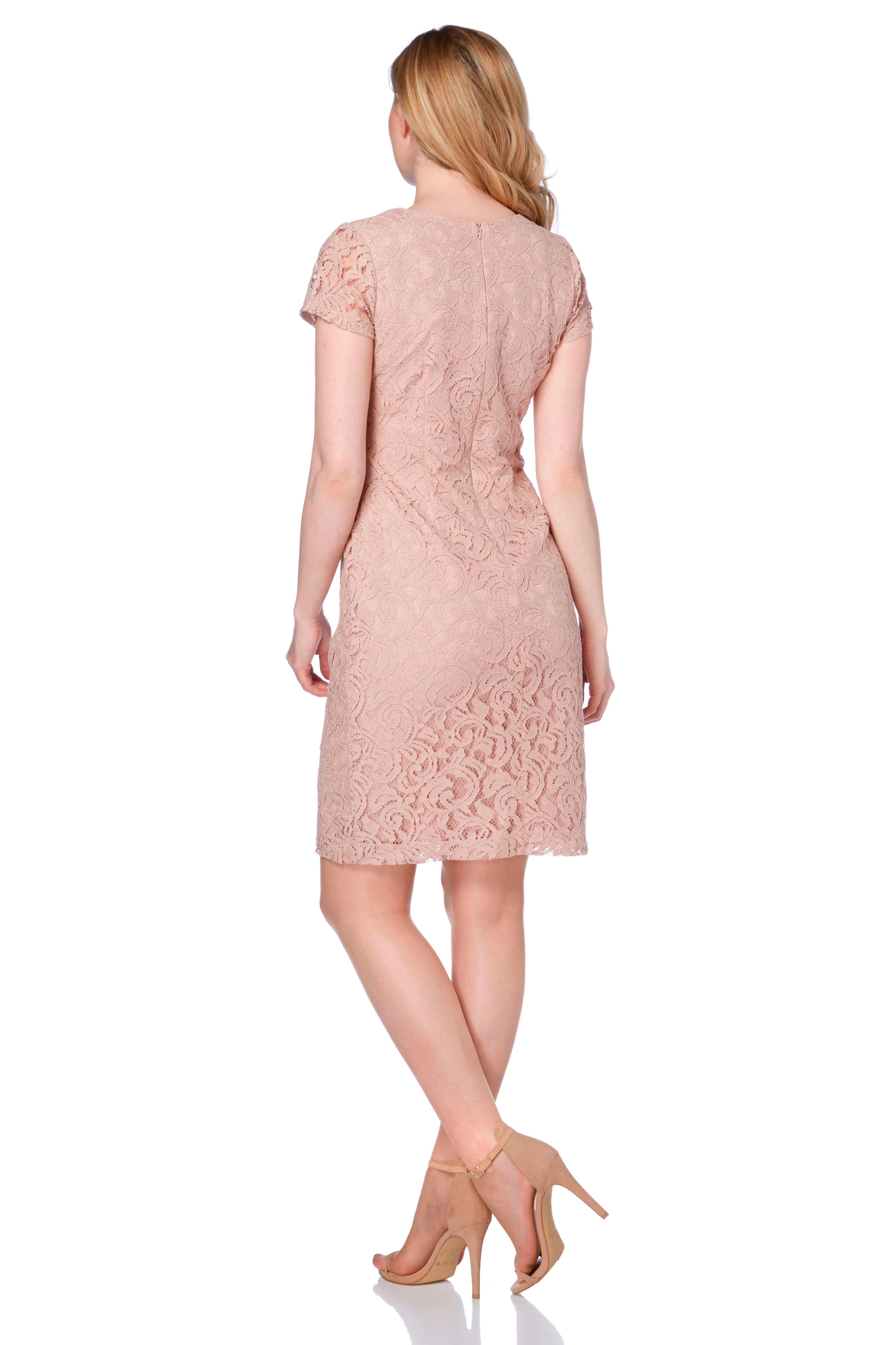 Roman-Originals-Ladies-V-Neck-Lace-Floral-Dress-Royal-Blue