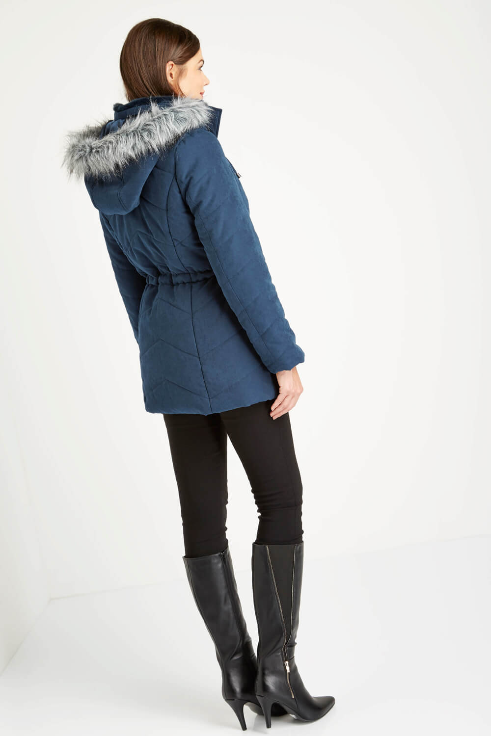 Roman-Originals-Women-039-s-Blue-Quilted-Parka-Coat-with-Hood-Sizes-10-20 thumbnail 15