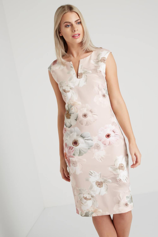 Roman-Originals-Womens-Light-Pink-Floral-All-Over-Print-Scuba-Dress-Sizes-10-20 thumbnail 15