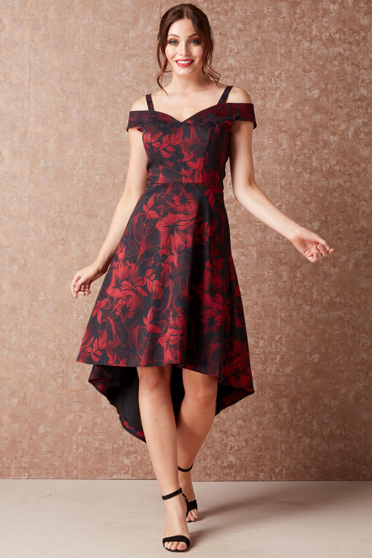 Roman-Originals-ajustado-y-acampanado-vestido-floral-para-mujer miniatura 8