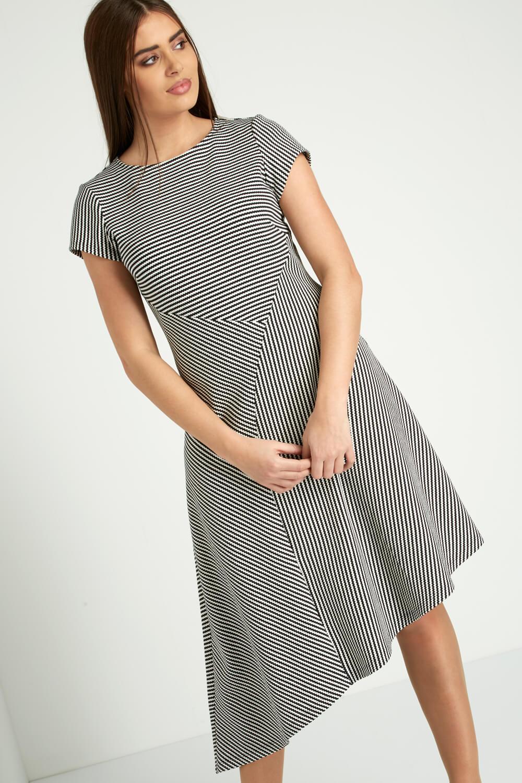 Roman-Originals-Women-039-s-Black-Stripe-Print-Asymmetric-Hem-Dress thumbnail 8