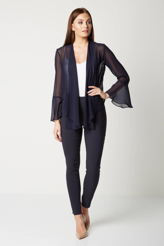 Roman-Originals-Women-039-s-Black-Sheer-Chiffon-Jacket-Sizes-10-20 thumbnail 17