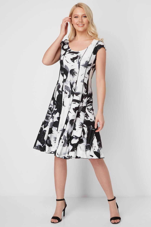 Roman Originals Monochrome Floral Floral Floral Print Panel Dress | Elegante Form  | Mittel Preis  | Roman  | Online Outlet Shop  | Roman  3ae501
