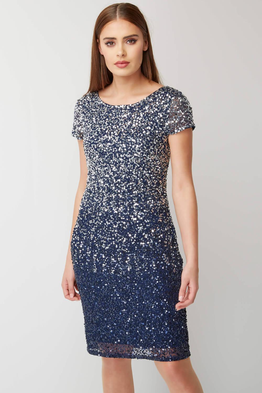 Roman-Originals-Women-039-s-Blue-Ombre-Sequin-Shift-Dress-Sizes-10-20 thumbnail 7