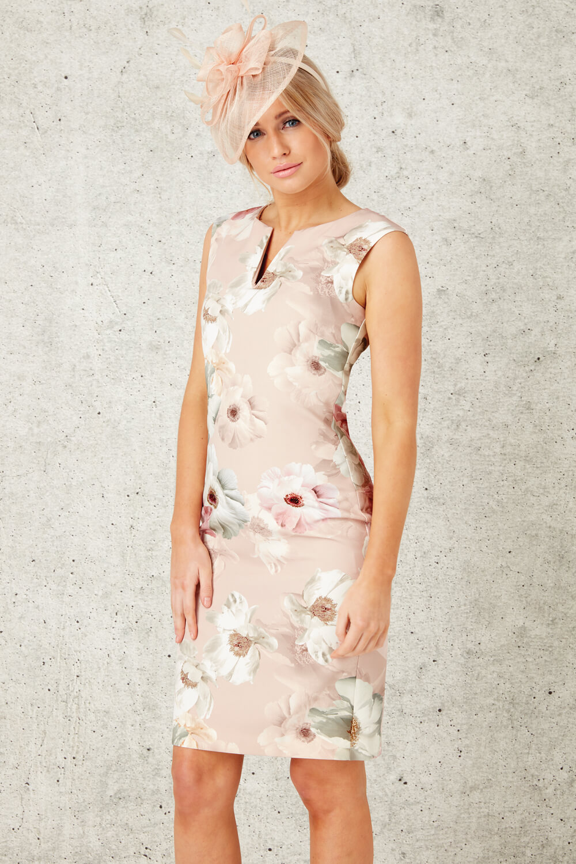 Roman-Originals-Womens-Light-Pink-Floral-All-Over-Print-Scuba-Dress-Sizes-10-20 thumbnail 13