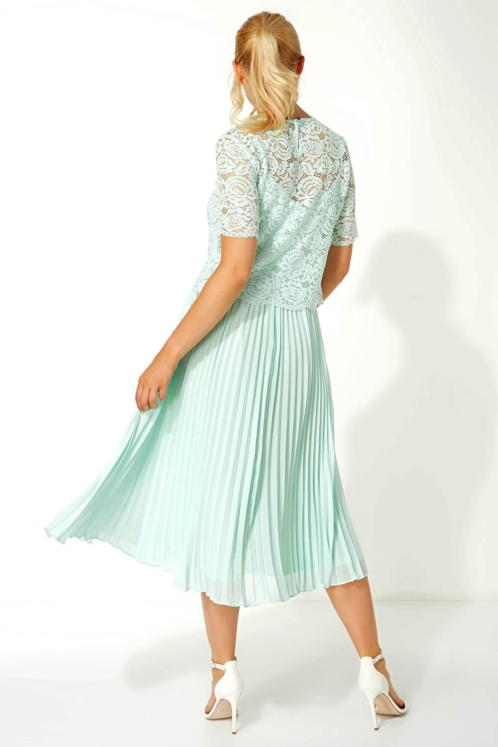 Roman-Originals-Women-Lace-Top-Overlay-Pleated-Dress thumbnail 36