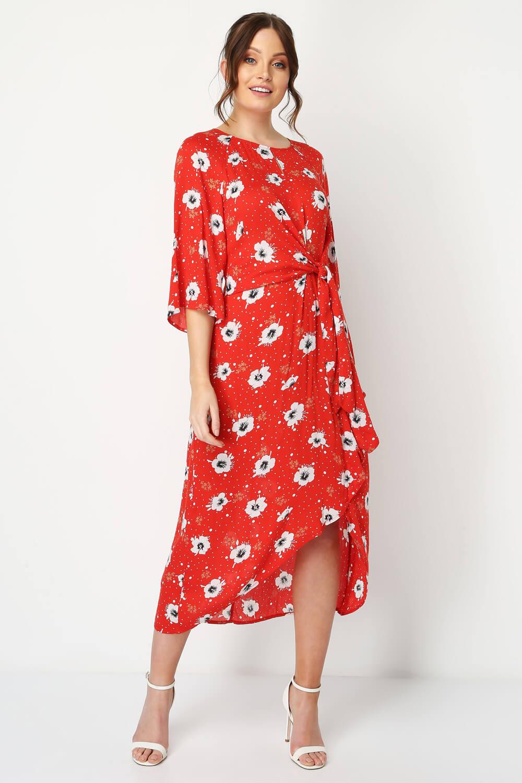 Roman-Originals-Women-Red-Floral-Knot-Waist-Maxi-Dress thumbnail 6
