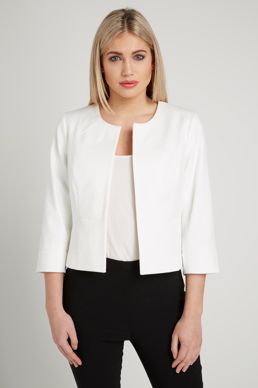 Roman-Originals-Women-039-s-White-Tailored-Jacquard-Jacket-Sizes-10-20 thumbnail 9