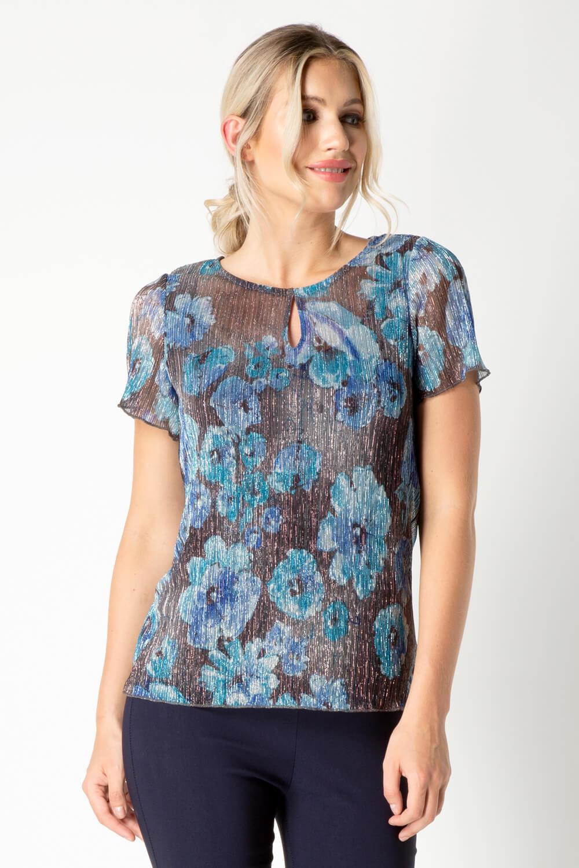 Roman-Originals-Women-039-s-Shimmer-Floral-Print-Top-Sizes-10-20 thumbnail 8