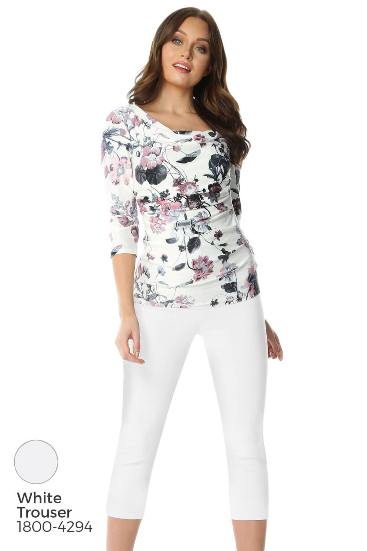 Roman-Originals-Womens-Floral-Cowl-Neck-3-4-Length-Sleeves-Floral-Top thumbnail 18