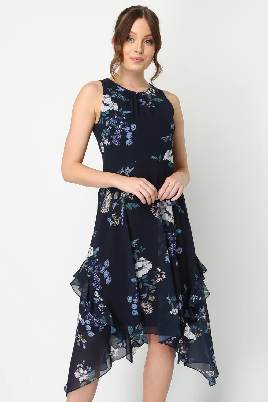 Roman-Originals-Women-Floral-Hanky-Hem-Ruffle-Dress thumbnail 8