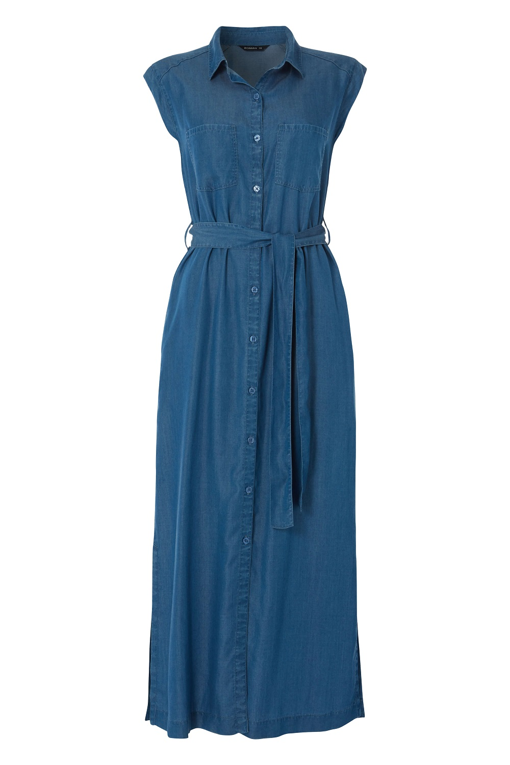 Button-Through-Midi-Denim-Dress-Women-Roman-Originals miniatuur 10