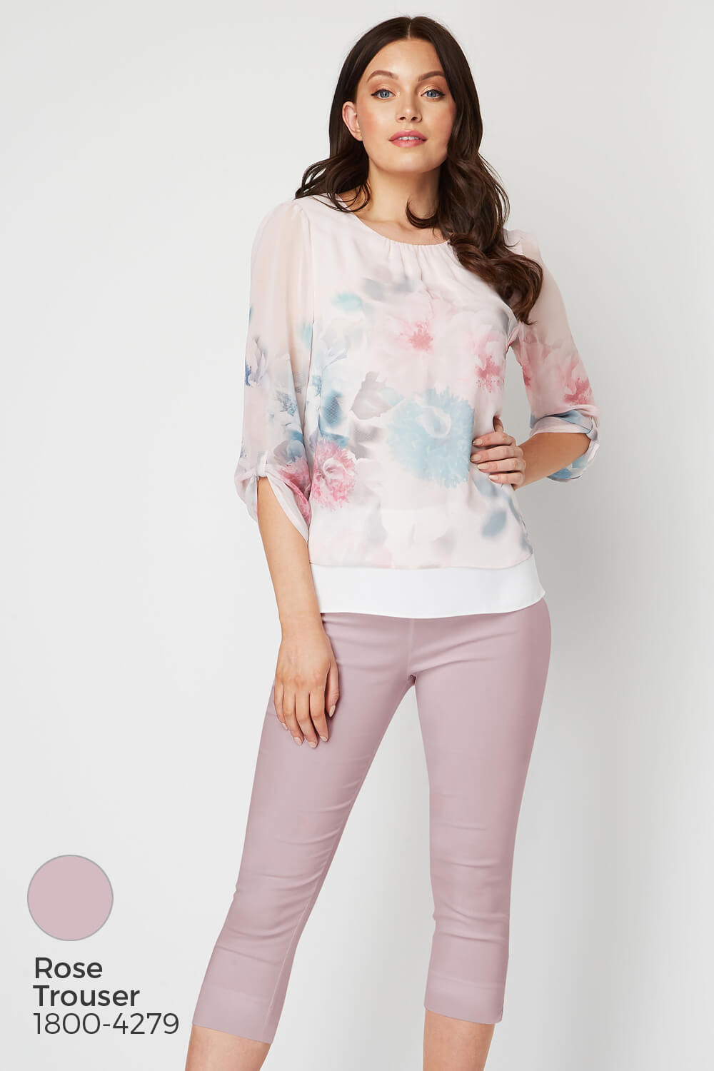 Roman-Originals-Womens-3-4-Length-Sleeve-Floral-Overlay-Top thumbnail 20