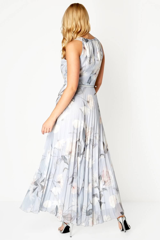 Roman-Originals-Women-039-s-Sleeveless-Floral-Pleated-Maxi-Dress thumbnail 16