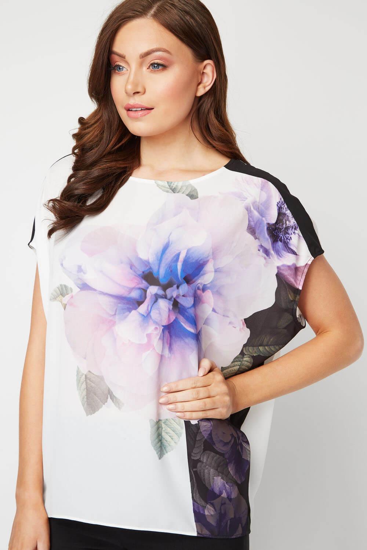 Roman-Originals-Femmes-Floral-Contraste-Overlay-Top miniature 13