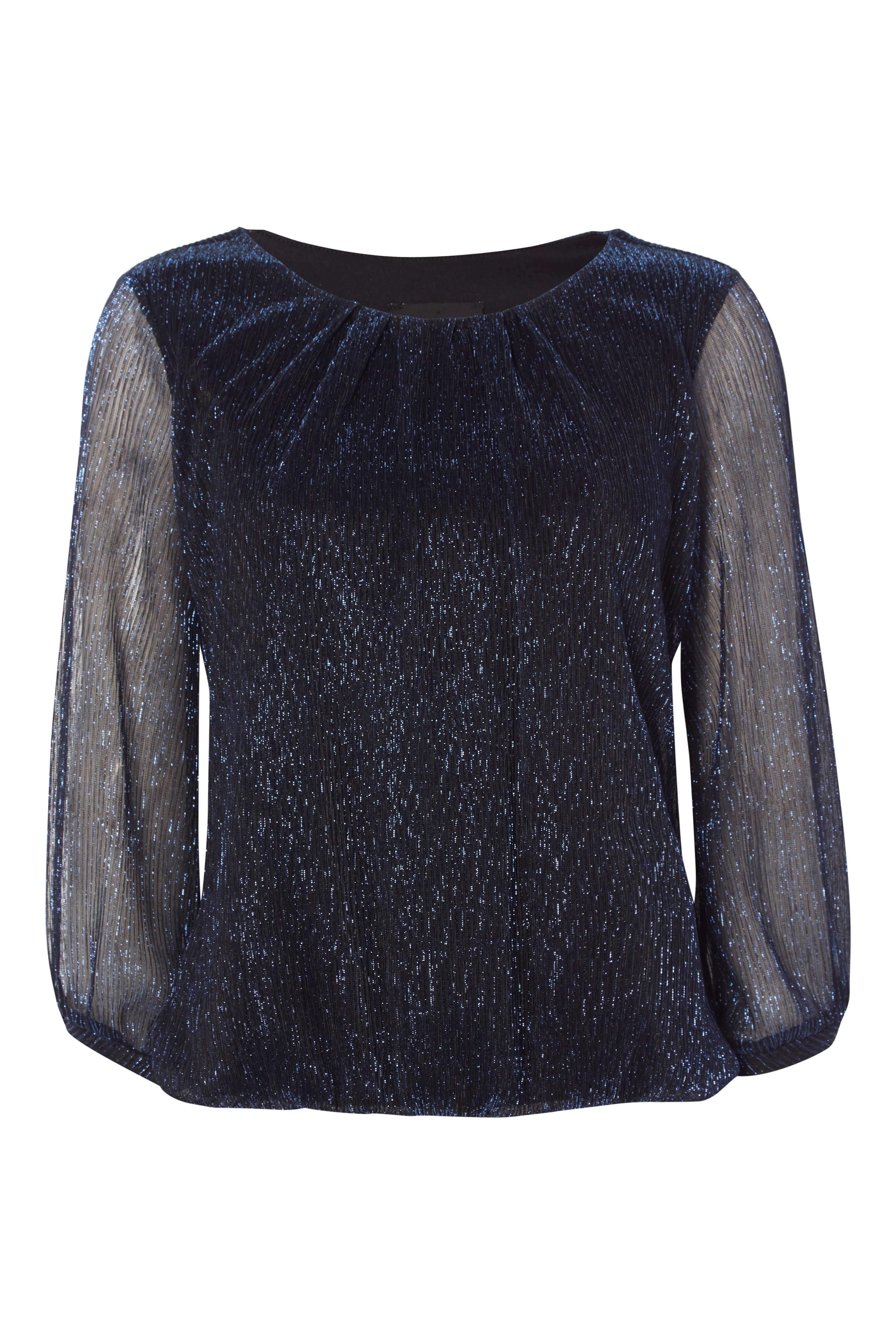 Roman-Originals-Women-039-s-Blue-Shimmer-Plisse-Bubble-Hem-Top-Sizes-10-20 thumbnail 16