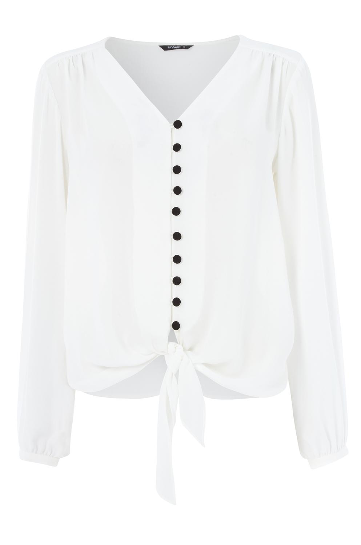 Roman-Originals-Women-039-s-Button-Tie-Front-Blouse-Ladies-Tops thumbnail 39