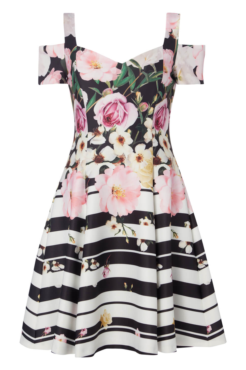 Roman-Originals-Womens-Black-Floral-Stripe-Print-Skater-Dress-Sizes-10-20