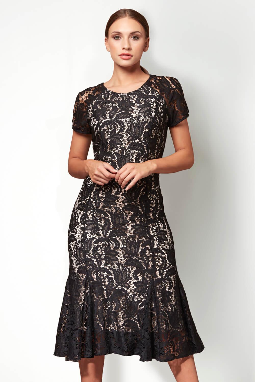Roman-Originals-Women-039-s-Lace-Flute-Hem-Midi-Dress thumbnail 17