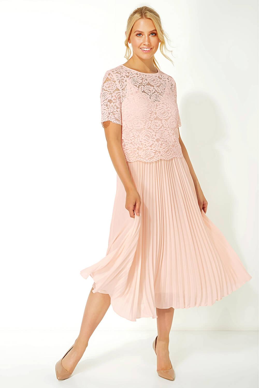 Roman-Originals-Women-Lace-Top-Overlay-Pleated-Dress thumbnail 28