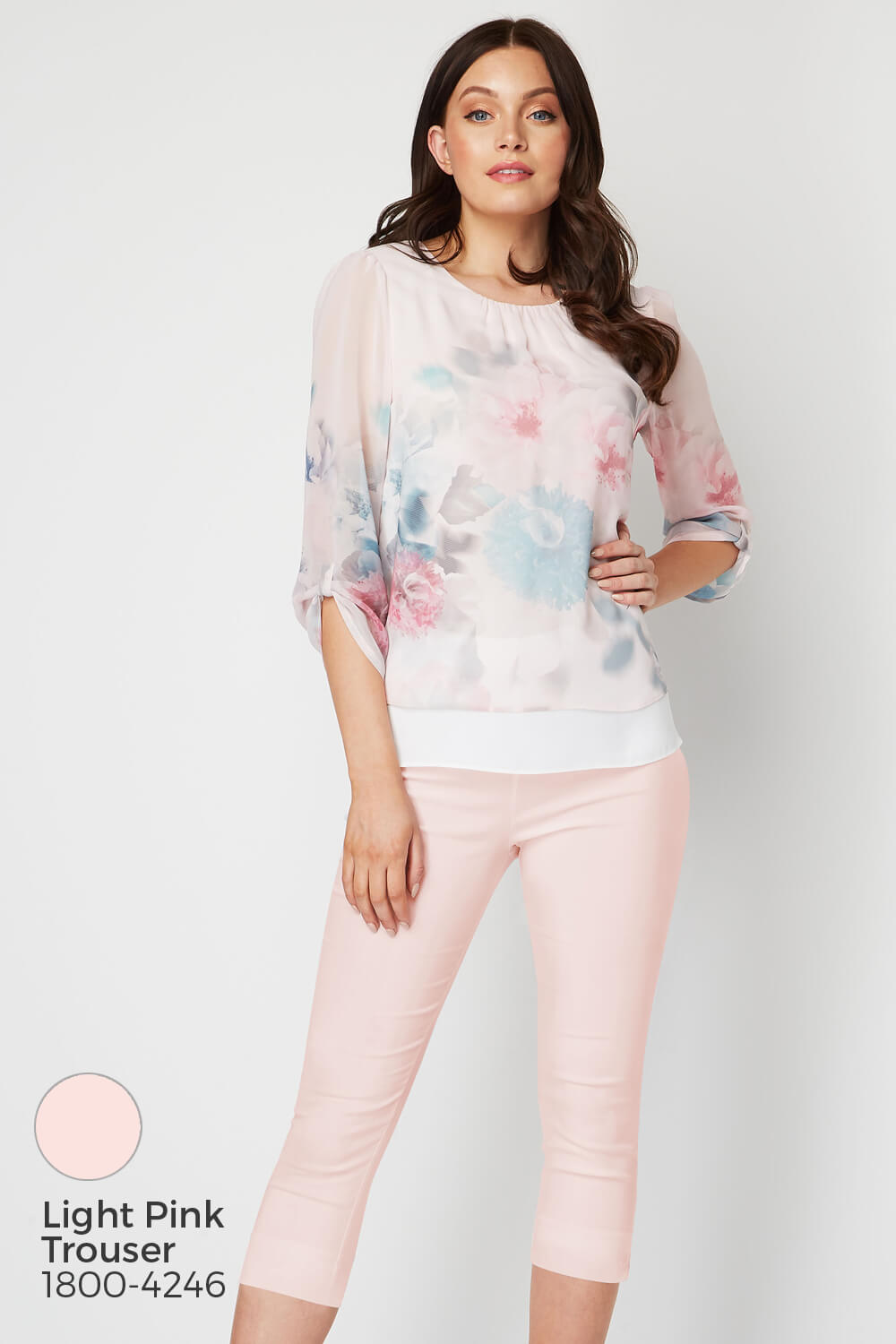 Roman-Originals-Womens-3-4-Length-Sleeve-Floral-Overlay-Top thumbnail 17