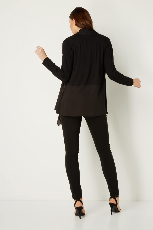 Roman-Originals-Noir-Cardigan-Cascade-Mousseline-Ourlet-Femme-Tailles-10-20 miniature 10