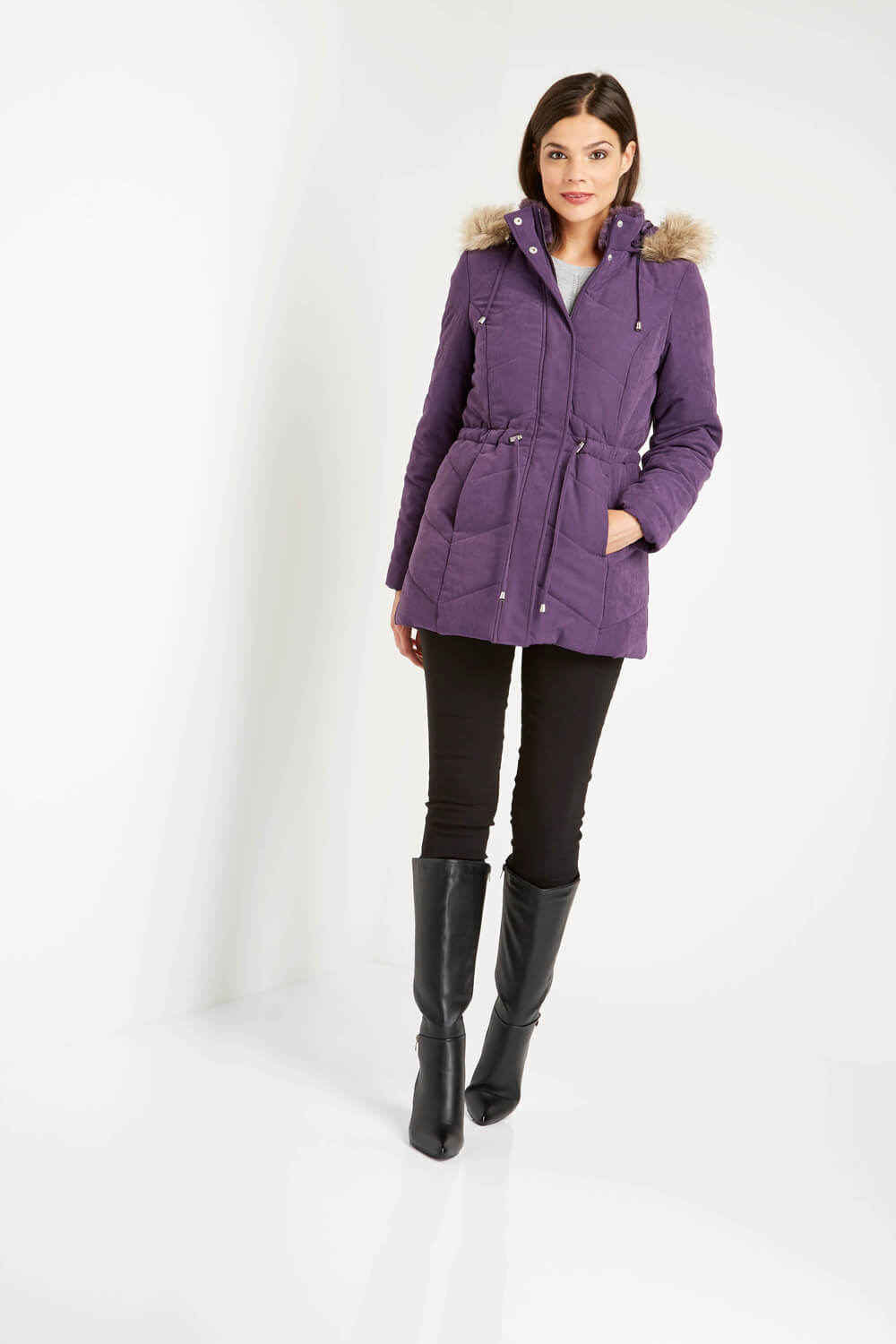 Roman-Originals-Women-039-s-Blue-Quilted-Parka-Coat-with-Hood-Sizes-10-20 thumbnail 24