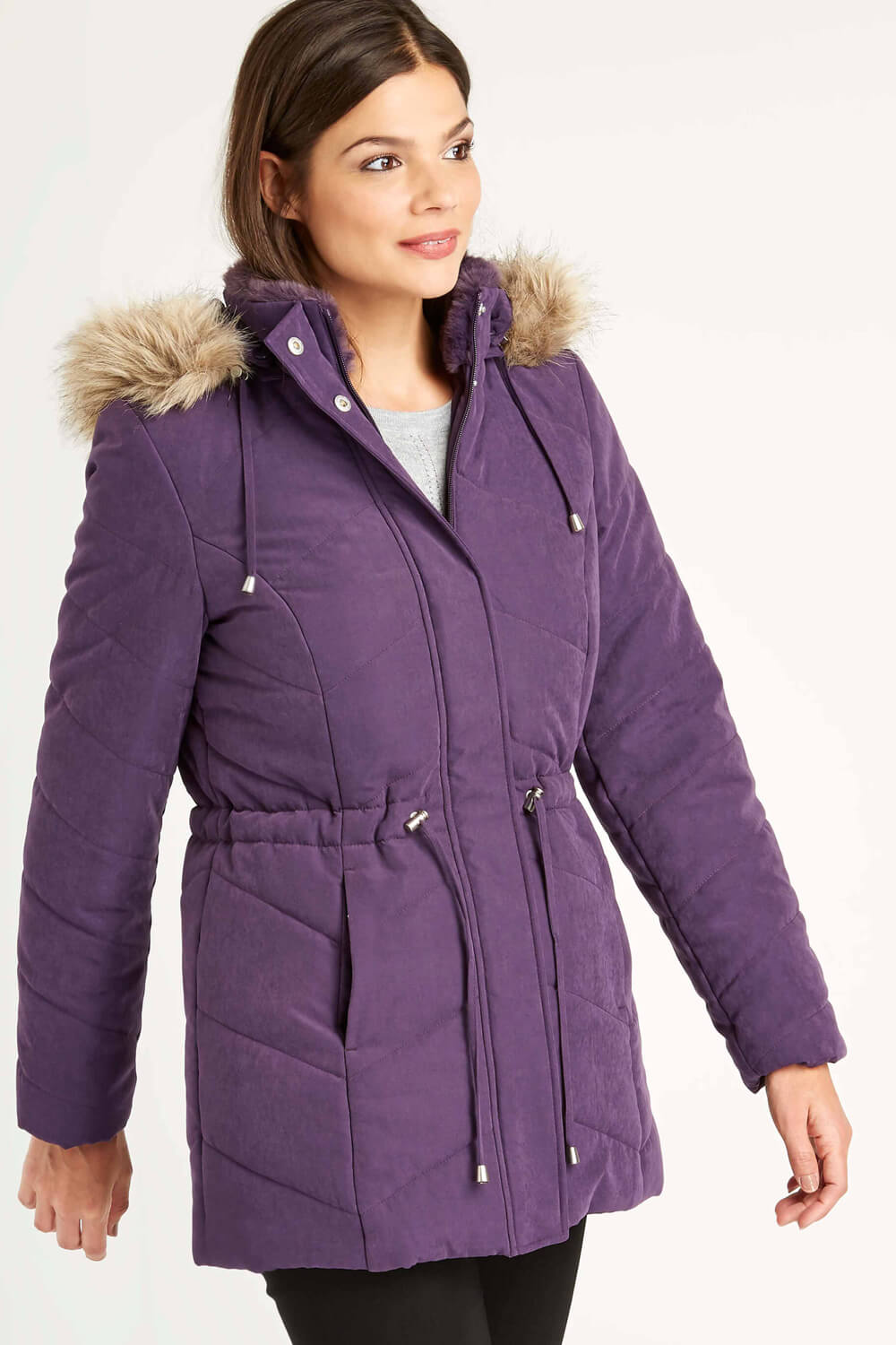 Roman-Originals-Women-039-s-Blue-Quilted-Parka-Coat-with-Hood-Sizes-10-20 thumbnail 21
