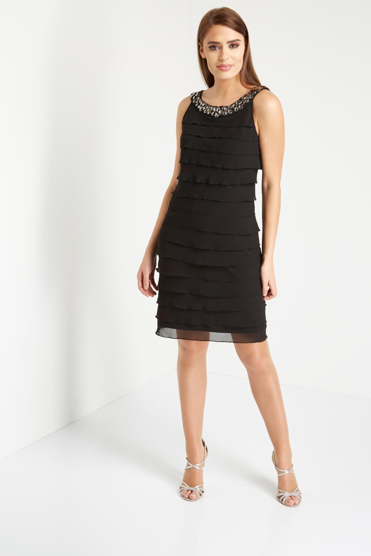 Roman-Originals-Women-039-s-Black-Embellished-Chiffon-Frill-Dress-Sizes-10-20 thumbnail 7