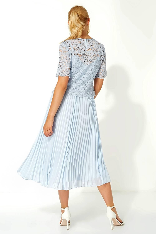 Roman-Originals-Women-Lace-Top-Overlay-Pleated-Dress thumbnail 22