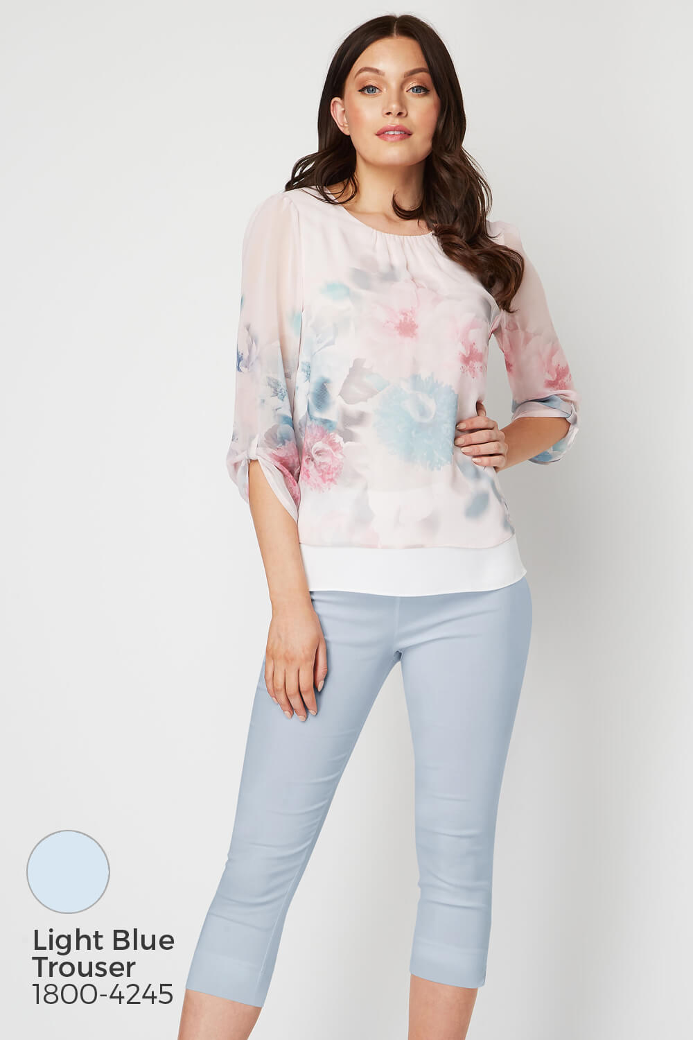 Roman-Originals-Womens-3-4-Length-Sleeve-Floral-Overlay-Top thumbnail 18