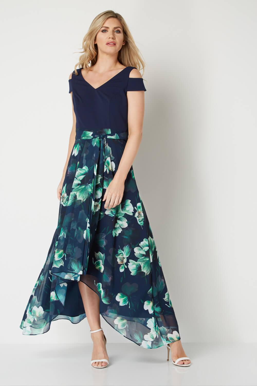 Roman-Originals-Women-039-s-Blue-Floral-Print-Cold-Shoulder-Maxi-Dress-Sizes-10-20