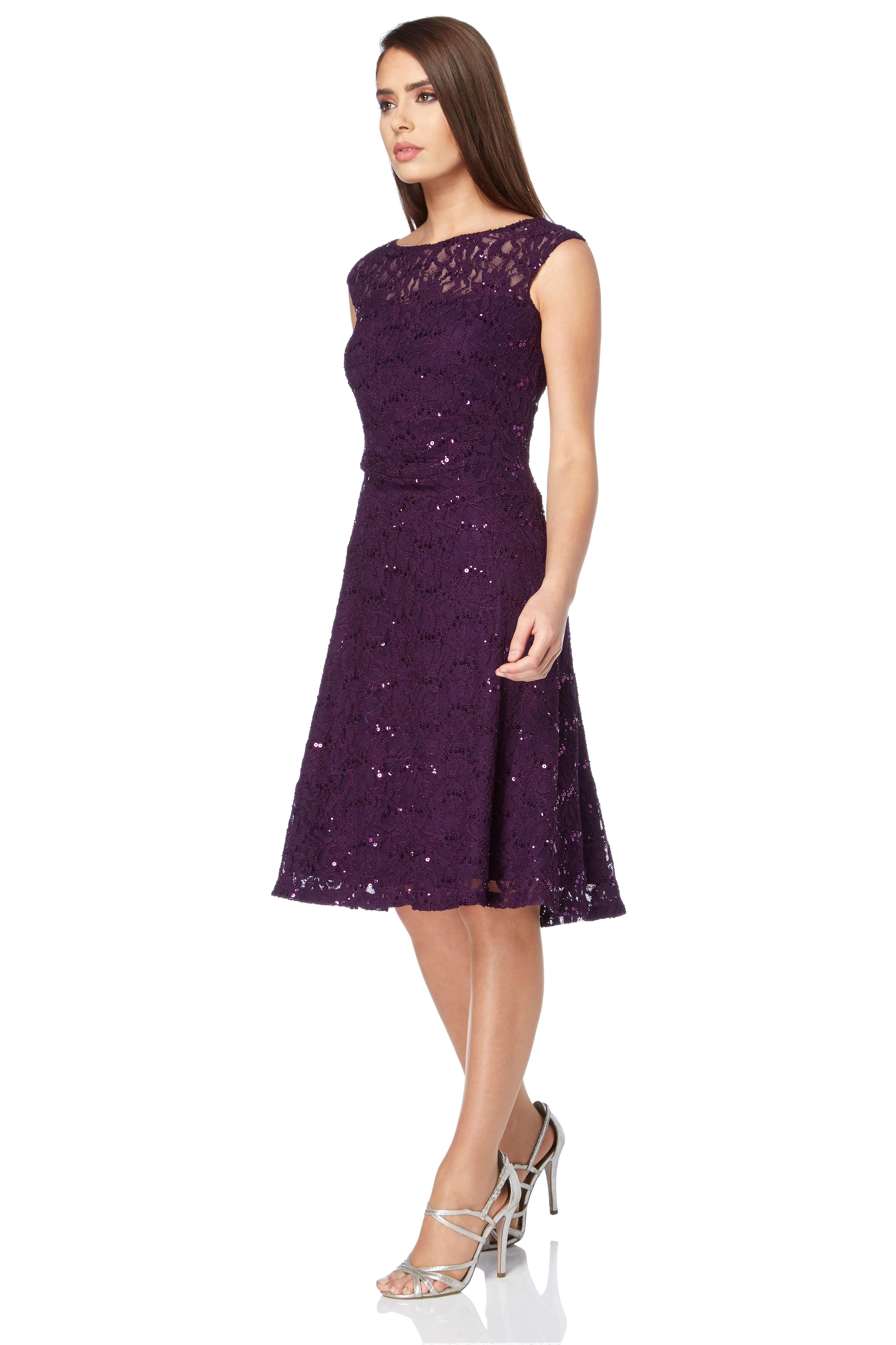 Roman-Originals-Ladies-Lace-Fit-and-Flare-Dress-Purple thumbnail 18