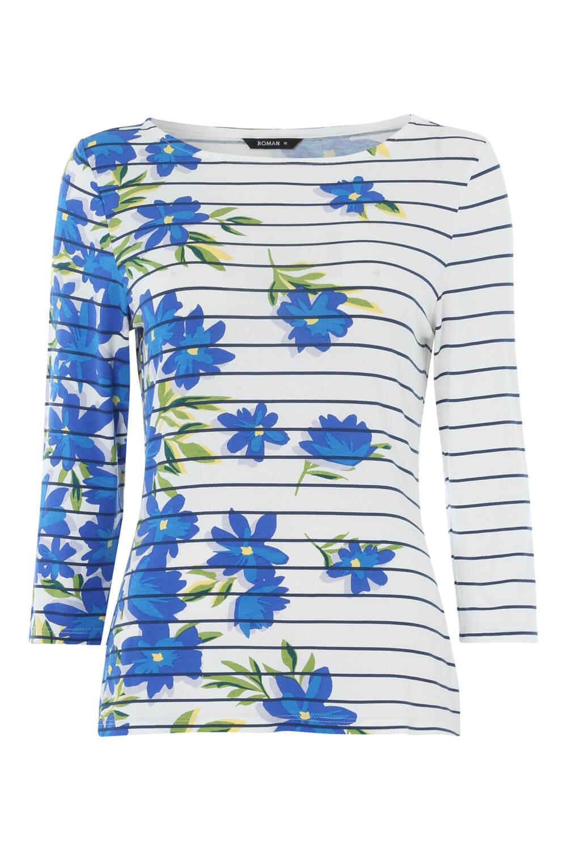 Roman-Originals-Women-039-s-Stripe-Floral-Top-Sizes-10-20 thumbnail 22