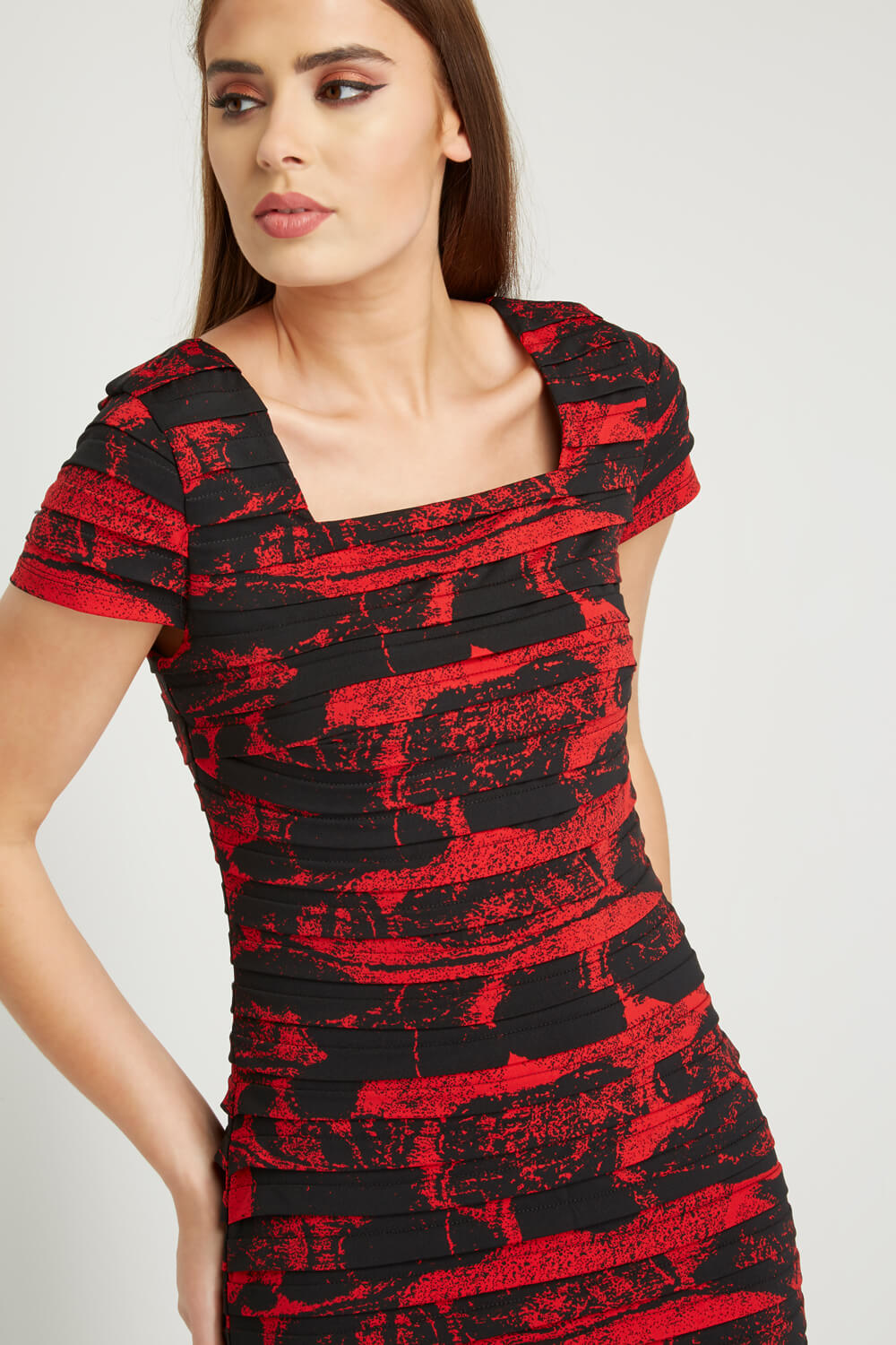 Roman-Originals-Ladies-Floral-Print-Pleated-Dress-Red thumbnail 9