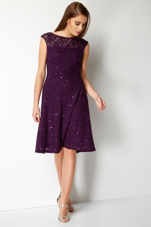 Roman-Originals-Ladies-Lace-Fit-and-Flare-Dress-Purple thumbnail 19
