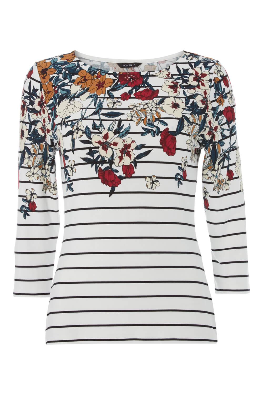 Roman-Originals-Women-039-s-Stripe-Floral-Top-Sizes-10-20 thumbnail 17